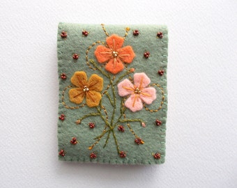Needle Book Green Felt Cover with Hand Embroidered Felt Flowers and Bead Embroidery Handsewn