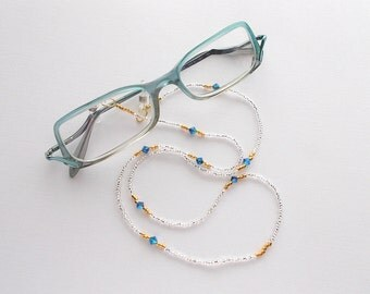 Eyeglass Lanyard Crystal Silverlined Beaded Necklace with Montana AB Swarovski Crystals and Gold Plated Seed Beads