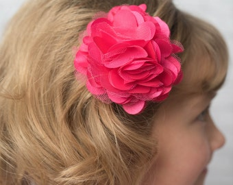 Hot Pink flower clip, girl hair accessories, wedding flower girl birthday gift, bridesmaid accessories, mesh flower clip, girl hair clip