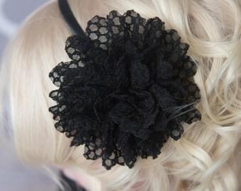 Black lace headband, Black lace Flower, black hard Headband, Toddler headband, photography prop, girl birthday gift, flower headband, girl