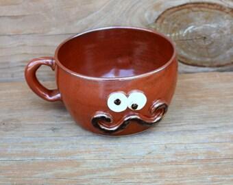 Manly Mustache Soup Mug. Funny Fall Autumn Chili Bowl. Coffee Cappuccino Latte Mug. Cinnamon Red.  Handlebar Man's Bowl with Handle.