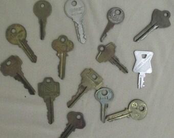 14 Vintage Keys /Most are Brass /Steampunk