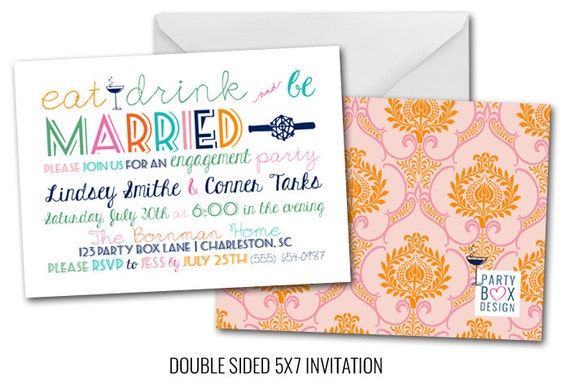 Eat, Drink and be MARRIED Engagement Party Invite