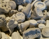8 TEXTURE pottery STAMPS for CLAY - Bisque - Great for Fimo, pmc, fondant, kids play dough, sculpey, and more! Great sample or trial size!