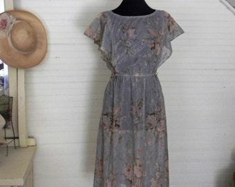 Vintage Dress, Floral Print Dress, Sheer Floral Dress, Pink Rose Print 1980s Lightweight Dress, Polyester Blue and Prink Floral Size Small,
