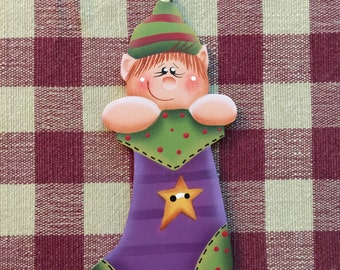 Hand Painted Whimsical Elf Stocking Wood Christmas Ornament
