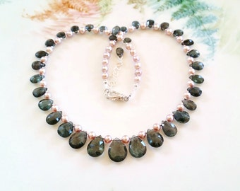 Dark Sea Green Moss Aquamarine Necklace One of a Kind Moss Aquamarine Briolette Necklace