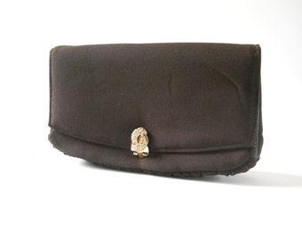 Vintage Brown 1940s Clutch • Vintage Dark Brown Wool Rayon Acetate Purse • Gold Tone Hardware Rhinestones