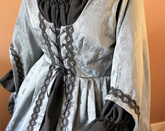 "Bust 44"" Blue Damask Dress and Chemise Set Maiden Style Gown Dress Tudor Renaissance Medieval Gown"