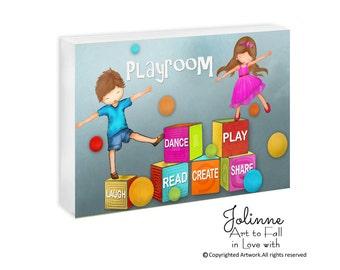 Kids playroom door sign, custom name door sign for kids room, Playroom art, dance play read laugh share door plaque for childrens room