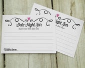 Date Night Jar Cards,Two Hearts Date Jar Wedding Notecards-PRINTABLE Instant Download,Best Date Ideas,Bridal Shower,Marriage Date Night