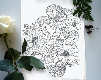 Adult Coloring Page - Snake and Poppies Tattoo - Instant Download- Print Your Own Coloring Pages