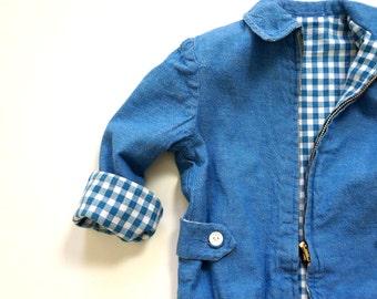 Vintage 1960s Childs 4T Merry Mites Jacket / Reversible Denim Gingham Cotton, Spring Fall Coat