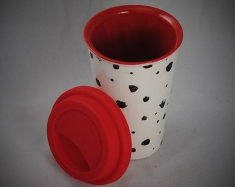 Dalmatian Ceramic Travel Mug/Tumbler with a lid