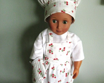 "Sweet Cherry Chef Apron, Hat, and Oven Mitt for 18"" (AG) size Doll ready to ship!"