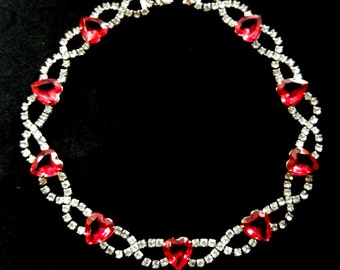 1960s lavish  light vibrant pink heart stones choker necklace - Juliana style limpid clear rhinestones and superb spark necklace - Art.355/4