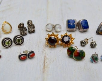 12 pc. Vintage Earring Post Lot . Most sterling . Some Gold Plated