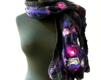 felted artistic nuno felt purple eco friendly scarf, eco friendly, spring fashion scarf