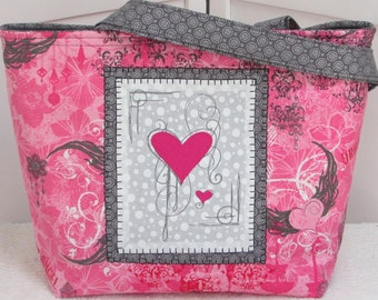 Pink and Grey Flying Heart Large Tote Bag Urban Angel Hearts and Wings Purse  Gothic heart Shoulder Bag Ready to Ship