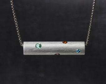 Multicolored Gemstone Necklace Silver Peach Sapphire Pink Tourmaline Blue Topaz Aqua Purple Amethyst Green Emerald Orange Citrine - Confetti