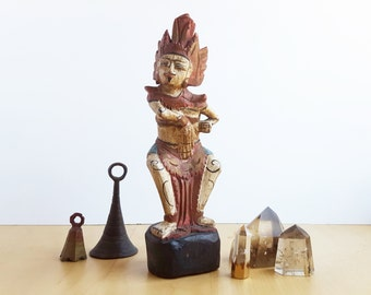 Balinese Figurine, Carved Wood, Exotic Summer Decor, Adventurous Tropical Home Decor, Boho Chic