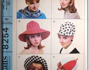 McCalls #8254 - 1960s Vintage Hats In 4 Styles Pattern - Factory Folded