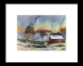 Original colorful print LANDSCAPE original watercolor original painting modern LANDSCAPE PAINTING, Winter Painting