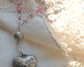 LOVE Heart Necklace, pink beads