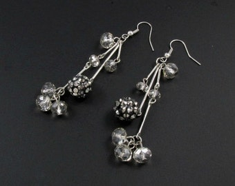 Crystal Dangle Earrings, Long Earrings, Grey Earrings, Dangle Earrings, Holiday Earrings, Crystal Earrings, Crystal Drop Earrings