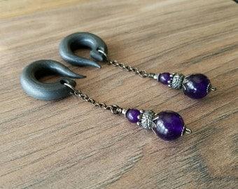 Dark Purple Jade Drop Gauged Earrings Plugs