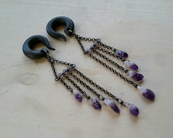 Amethyst Quartz Nugget Fringe Gauged Earring Plugs