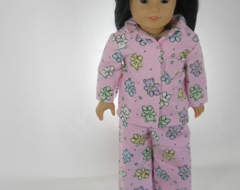18 inch doll clothes made to fit dolls such as American Girl®, Pink Teddy Bear Pajamas, 03-0057