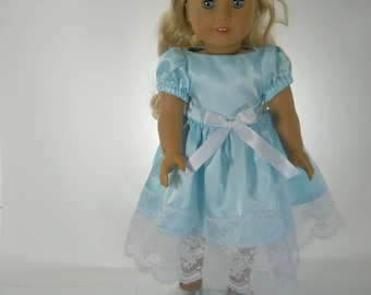 18 inch doll clothes made to fit dolls such as American Girl®,  Aqua Blue Satin Dress 08-1298