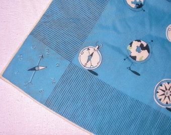Vintage COMPASS GLOBE MAP Scarf • blue tone • Large 32 inches