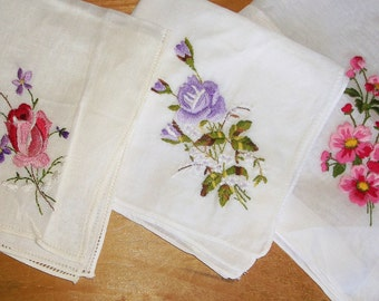 6 Vintage Embroidered Floral Handkerchiefs