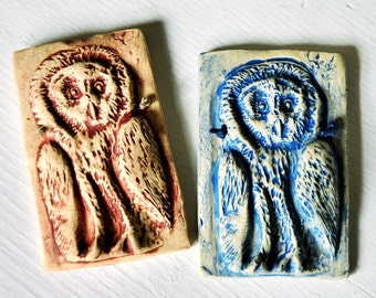 Small Owl Wall Plaque in Blue or Rust Wash Over Light Stoneware - Nature Tile, Nature Art, Home Decor, Bird Art
