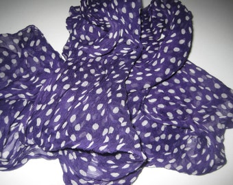 Purple and White Polka Dot Crinkle Scarf Oblong
