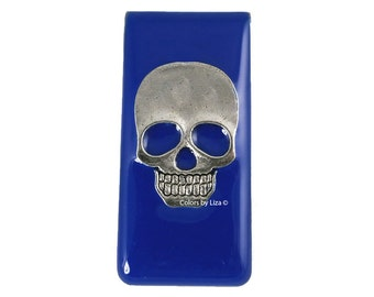 Skull Head Metal Money Clip Inlaid in Hand Painted Enamel Cobalt Opaque Glossy Finish Personalized and Color Options