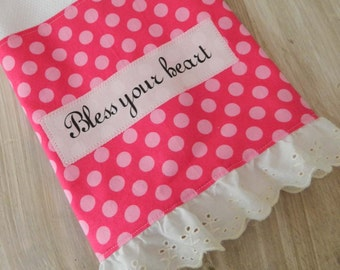 Bless Your Heart, southern humor, pink polka dot, vintage trim