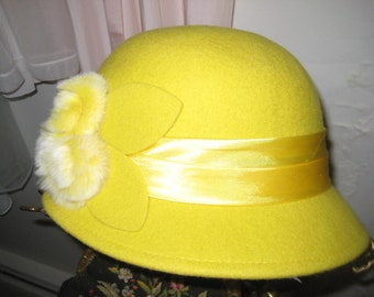 Mustard Yellow Wool Cloche/Mink Roses Trimmed Hat