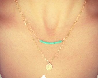 SALE - Two Necklaces - Tiny Customized Initial 9mm Disc Necklace and Tiny Turquoise Bead Bar Necklace - Gift for Her -The Lovely Raindrop