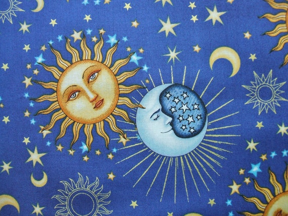 Celestial sol sun moon stars blue dan by aliceinstitchesarts for Sun and moon fabric
