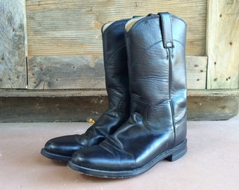 Vintage Justin Roper cowgirl boots Women's size 6 B (fits up to size 6.5), black cowboy boots women, boho rockabilly, roper boots, round toe