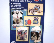 Quick Count Plastic Canvas Pattern Booklet, Raining Cats and Dogs