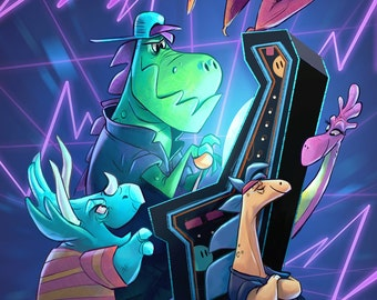 Dinosaur Arcade | Fine Art Print | 90s Inspired Arcade Madness for Geeky Gamers | Flimflammery