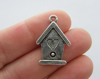 4 Bird house charms antique silver tone B169