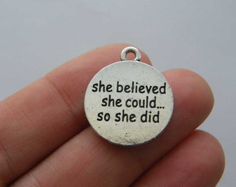 2 She believed she could... so she did charms antique silver tone M756
