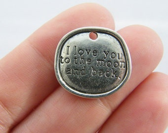 4 I love you to the moon and back charms antique silver tone M794