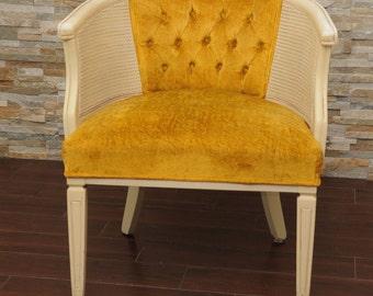 Mid Century Hollywood Regency Barrel Cane Tufted Gold & Cream Chair-Tub Chair