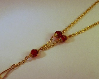 Ruby Red faceted crystals and gold steel chain Identification lanyard necklace